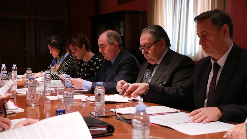 Los presidentes de las Cámaras de Comercio de Huesca, Zaragoza y Teruel durante la última reunión del Consejo.