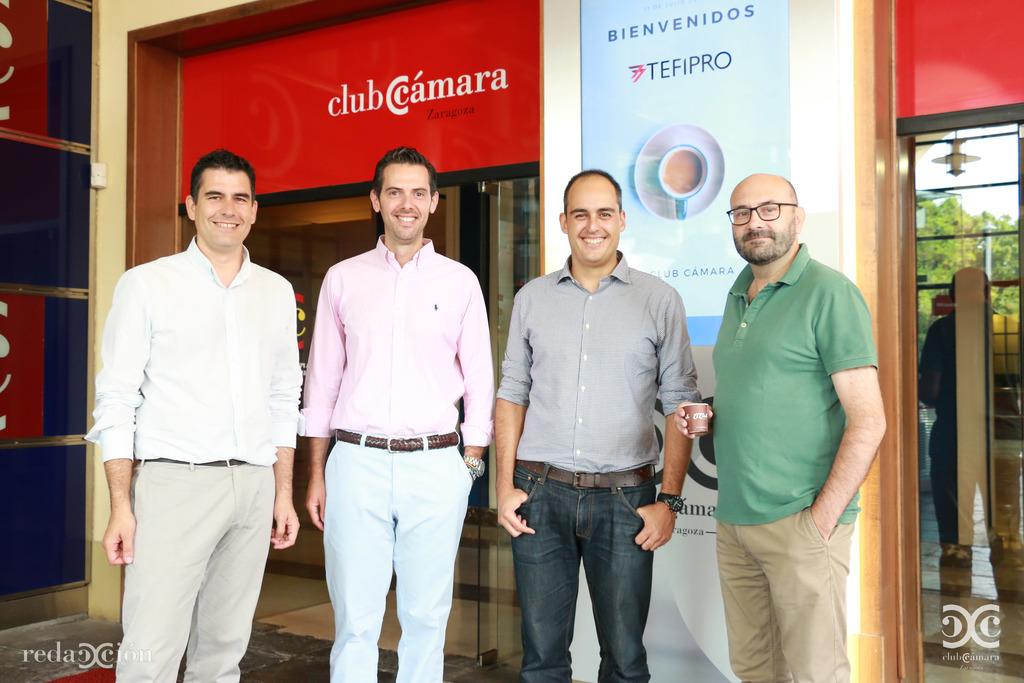 Juan Carlos Riosalido, de Cámara Zaragoza; Jorge Álvarez y Víctor Guardia, de Tefipro, y Ramón Añaños, de Redacción Club.