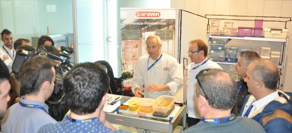 Demostración del chef Jesús Almagro en el stand de Araven durante la pasada edición de Madrid Fusión