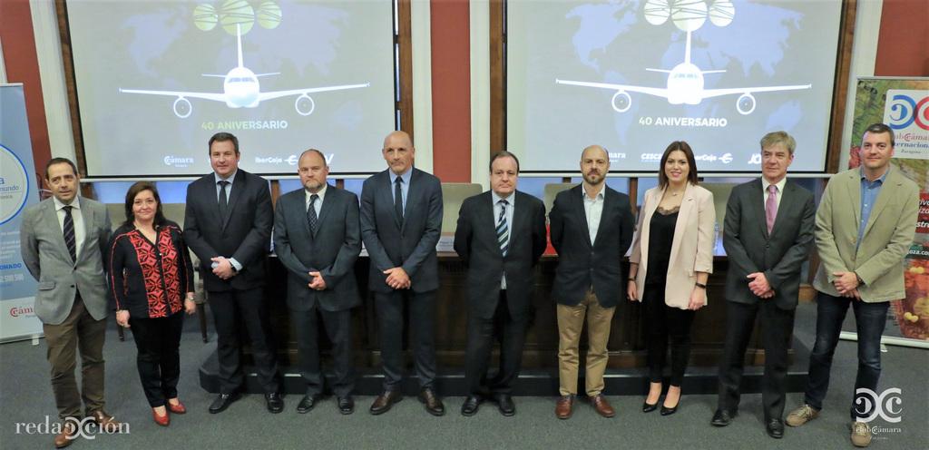 Ganadores de los Premios de la Exportación 2017, acompañados de representantes de Cámara Zaragoza y colaboradores. Fotos: Arturo Gascón